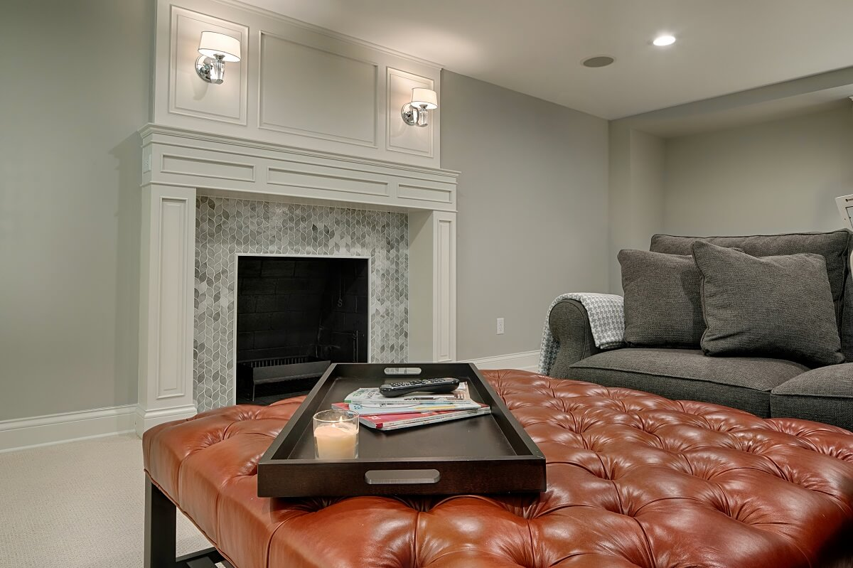 fireplace and builtins in mn finished basement